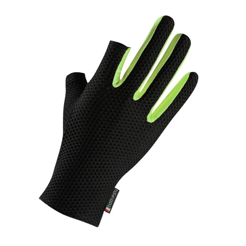 Men Fashion Winter Gloves Anti-skid Sunshade Stretch Breathable Ice Silk 2 Cut Finger Gloves Mittens