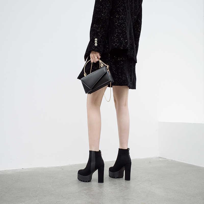 2019 zwarte hoge hak platform laarzen winter schoenen dames punk laarzen hoge hakken vrouwen enkellaars vrouwen fluwelen winter laarzen