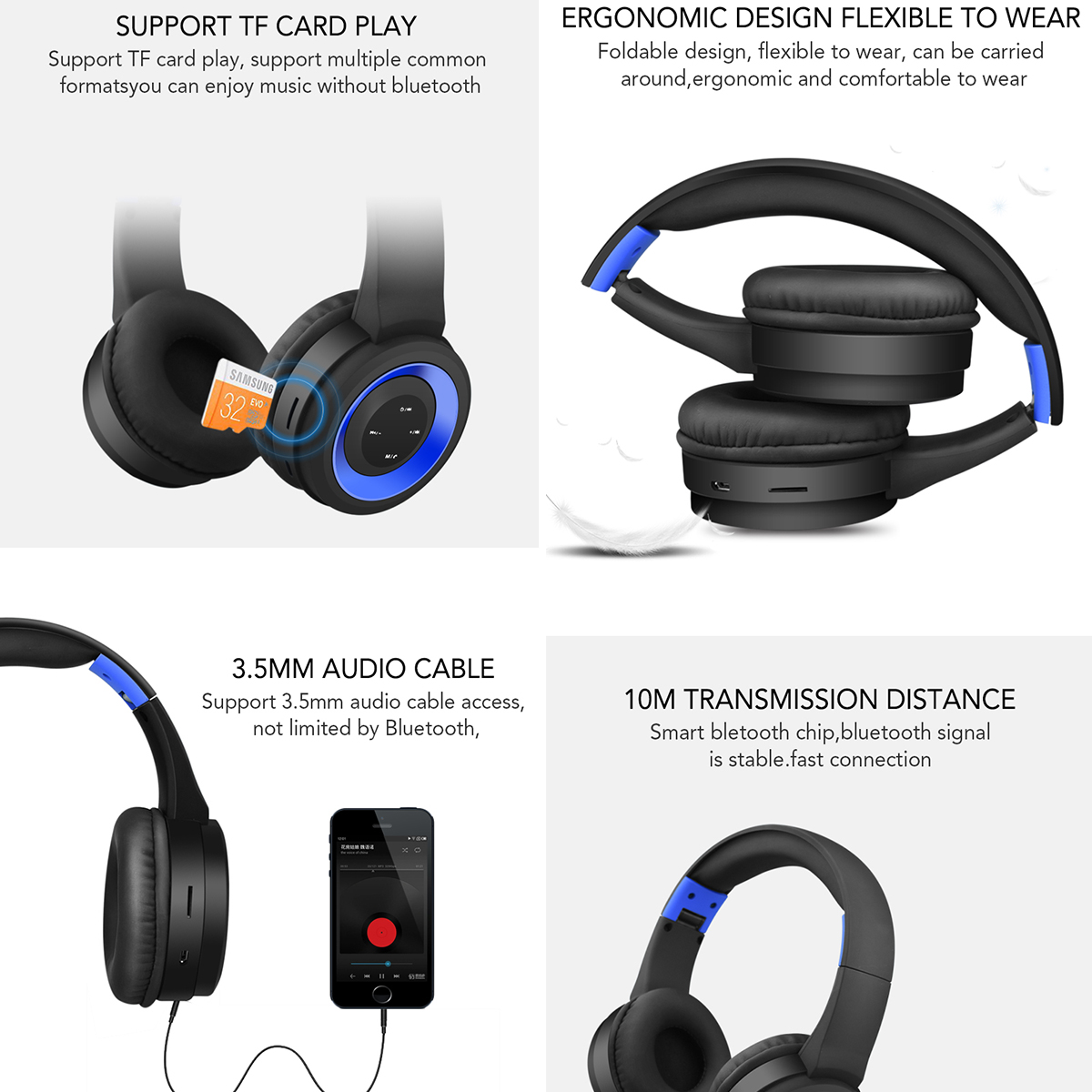 TR905 Wireless Headphones Noise Cancelling BT Headband Sport Game Headset Foldable Stereo Earphones With Mic For Phone Pc Laptop
