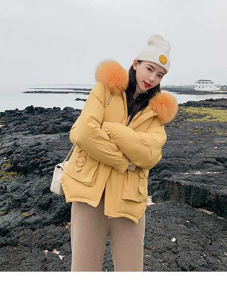 Mùa đông năm 2019 Nữ Sinh Cotton lót nóc Áo Khoác Tóc Dễ Dàng Dẫn Bánh Mì Phục Vụ Nón Dày Ngắn Mianfu Áo khoác Harajuku