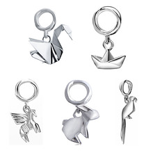 SG 925 Sterling Silver lovely Origami little rabbit horse boat diy Charms Pendants Beads Fit Authentic Pandora Bracelets jewelry