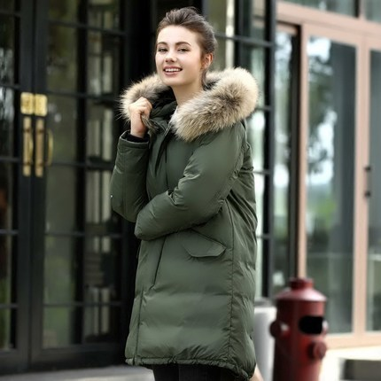 Arrivals New Eroean Large Raccoon Fur Winter Jacket Female Down Parkas Long Hoody Warm Women Coats Hot LX1189
