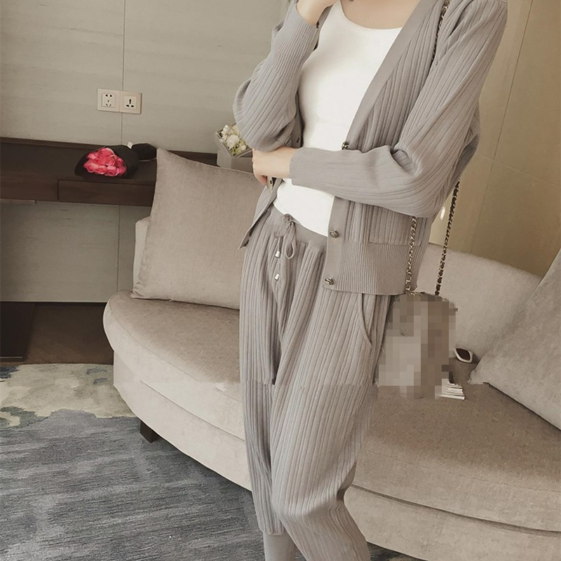 Knitted Casual Tracksuit Pant Suits 2018 Fashion 2 Piece Set Women Sweater And Trousers Set Pants Set 52