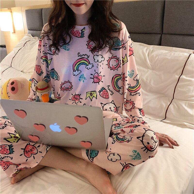 Pajamas Women Long Sleeve Set Rainbow Pink Cat Set M -Xxl