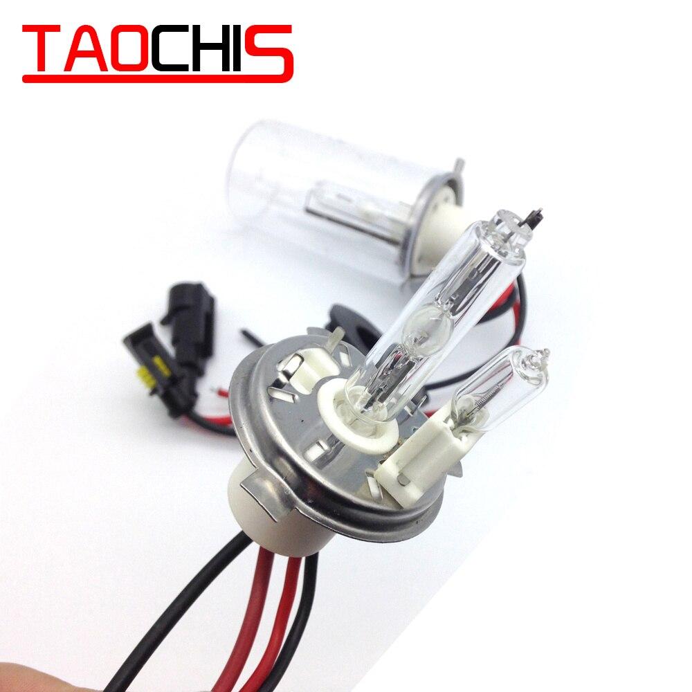TAOCHIS 12V 100W H4-2 HID Xenon Bulbs Light 4300k 5000k 6000k 8000k H4/H H4/L Ceramics Base Car Headlight Conversion Replacement