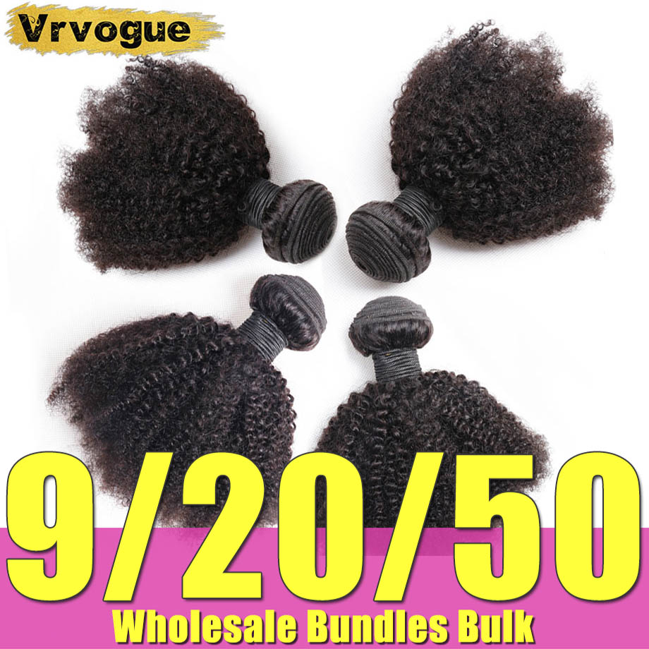 Extensiones de cabello humano rizado Afro de 8-20 pulgadas, paquetes de cabello al mayor, cabello brasilero a granel, extensión de cabello Natural Remy Vrvogue