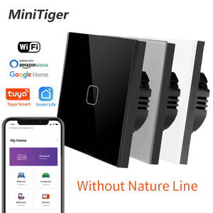 Minitiger Crystal Glass Switch Panel 1 2 3 Gang 1 Way Smart Light Switch Controler Single Fire Line Smart Home Touch Switch