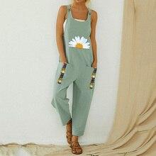 Littlerossa Womens Loose Cotton Jumpsuit Summer Floral Button Strappy Bodysuit C