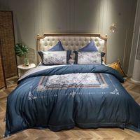 4pcs Sets Floral Pastoral Duvet Cover Pillowcases Bedspreads European Egyptian Cotton Bed Linen Soft Satin Bedding Cover