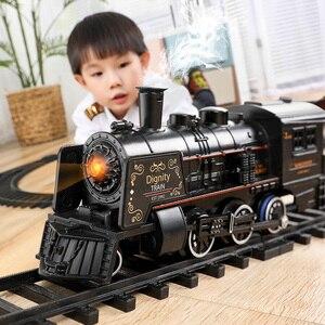 Электрический игрушечный поезд, рельсы с дистанционным управлением, модель поездов, набор поездов с динамическим паром, набор радиоуправля...