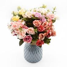 13 cabezas de rosas de seda ramo de novia boda decoración de Navidad para el hogar jarrón de adorno maceta libro de recortes de flores artificiales