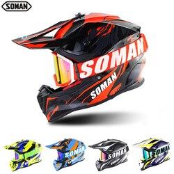 SOMAN motor terenowy kask motocrossowy ECE Dh kaski gogle motocykl kask motocrossowy wyścigi MX Casco Moto Off Road kaski SM633|Kaski|   -