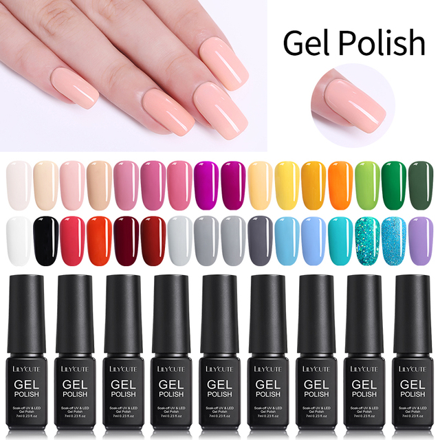 LILYCUTE 164 Solid Colors Nail Art Designs