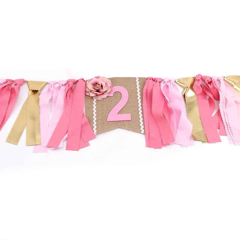 Util Baby First Birthday Pink Chair Banner un año 1 er cumpleaños fiesta decoración niño niña banderines suministros cumpleaños Pull bandera