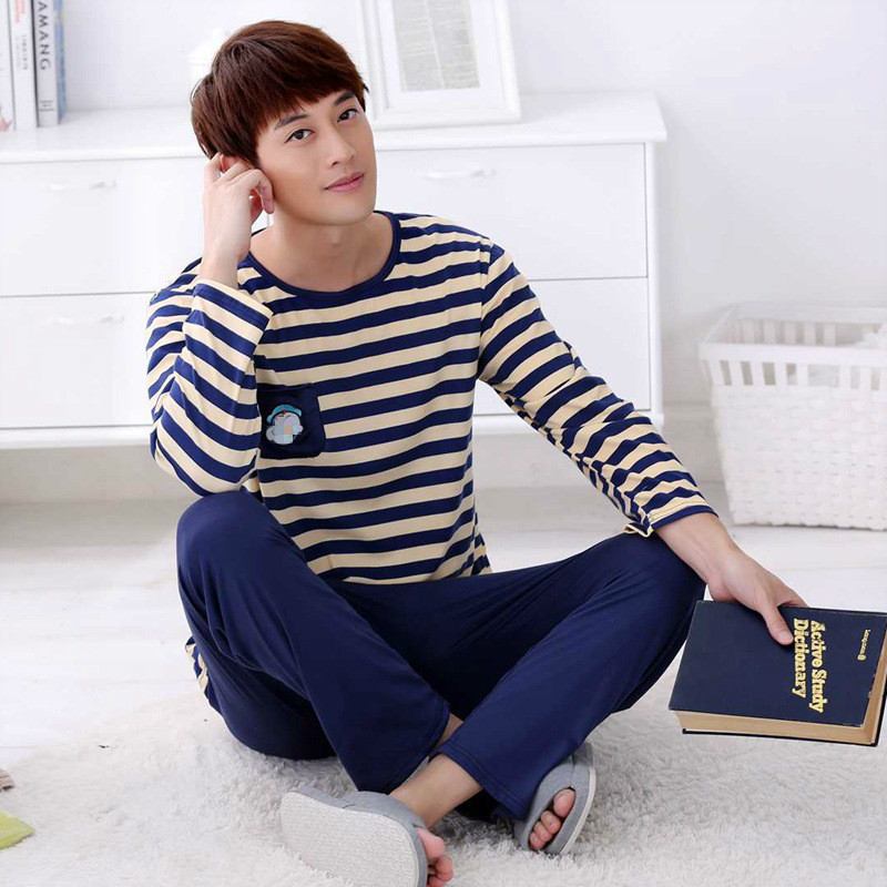 Wontive Spring New Long Sleeve Pijama Stripe Top + Pants Pajamas Set For Male Sleep Clothing Home Service Men Pyjamas Suit