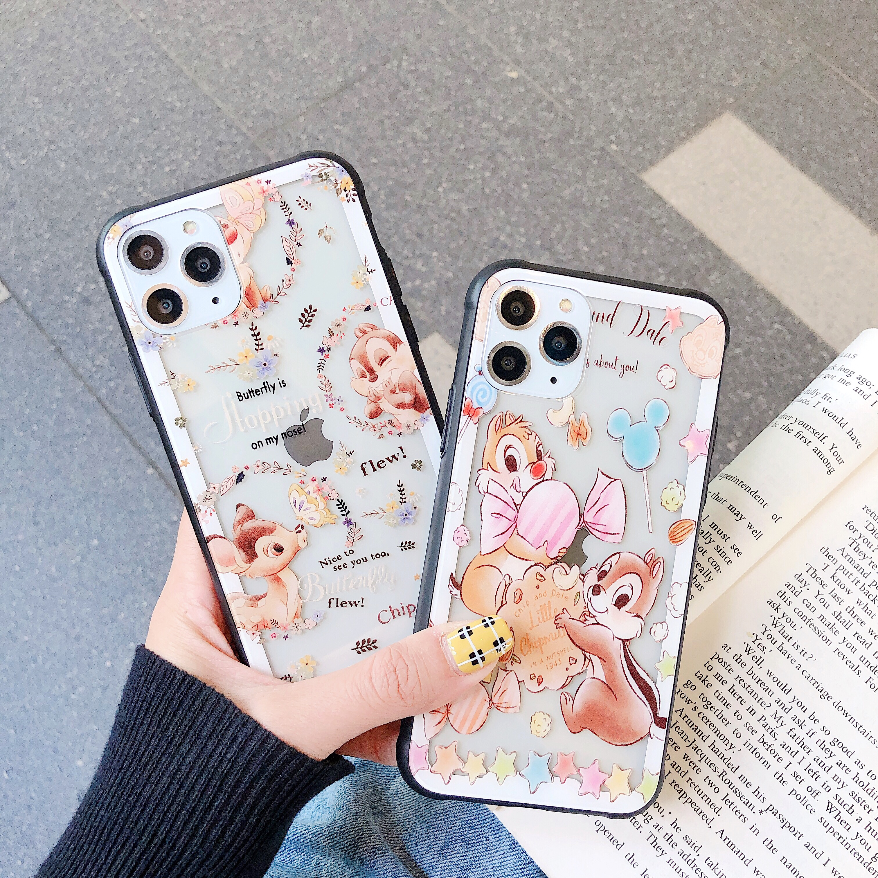 Cute Chip And Dale Squirrel Disneys Cartoon Phone Case For Iphone 7 8 Plus X Xs Xr Xsmax 11 11pro Max Glass Phone Half Wrapped Cases Aliexpress