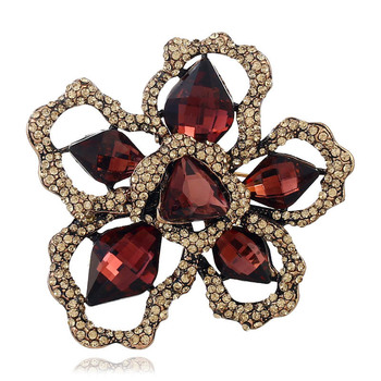 Big Vintage Antiqued Gold Color Hollow Exggerated Crystal Rhinestone Flower Broon for Women Multicolor Pins Jewelry image
