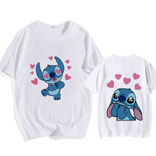 Stitch T-shirt ladies summer cartoon top fashion men and women with the same white bottoming hot sale