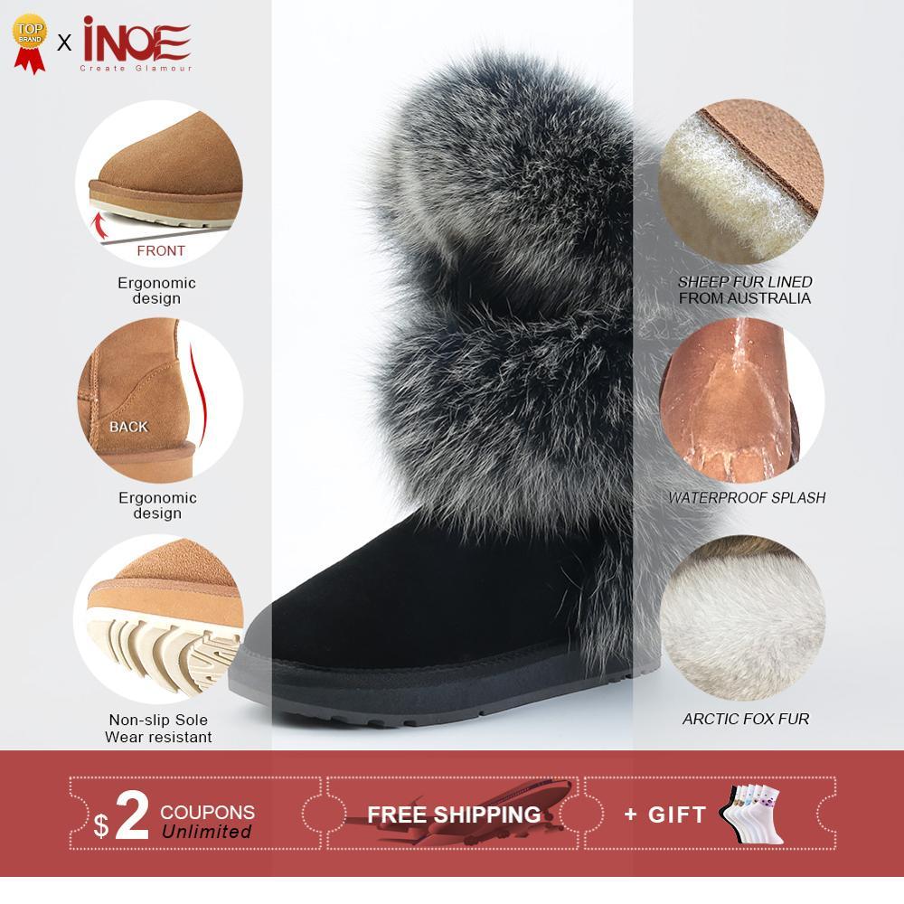 INOE/Роскошные модные женские зимние сапоги из мягкой лисьего меха; зимняя обувь из овечьей замши с меховой подкладкой; Цвет черный, серый - 2