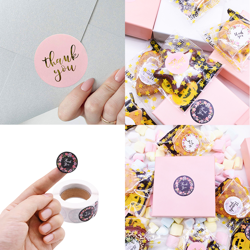 Gift Sealing Stickers 500pcs Thank you Love Design Diary Scrapbooking Stickers Festival Birthday Party Gift Decorations Labels 3
