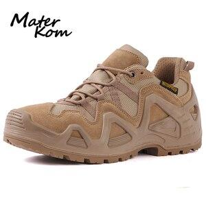 Image 1 - Size 39 44 Outdoor Men Waterproof Hiking Shoes Military Boots for Men Tactical Boots Desert Trekking Shoes Men buty trekkingowe