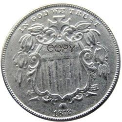 US 1872 щит пять центов копия из никеля монеты