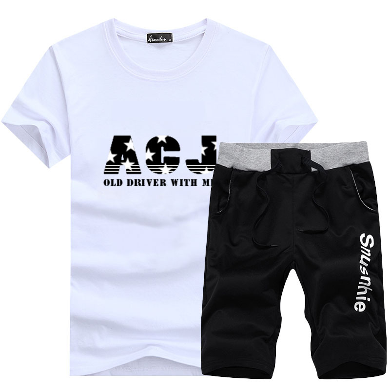 2019 Summer Men Leisure Set Short Sleeve Round Collar T-shirt Korean-style Slim Fit Jogging Suits Fashion Youth Shorts