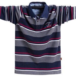 Image 1 - 새로운 남성 폴로 셔츠 고품질 스트라이프 폴로 셔츠 패션 캐주얼 긴 소매 폴로 셔츠 브랜드 의류 가을 겨울 5XL 크기