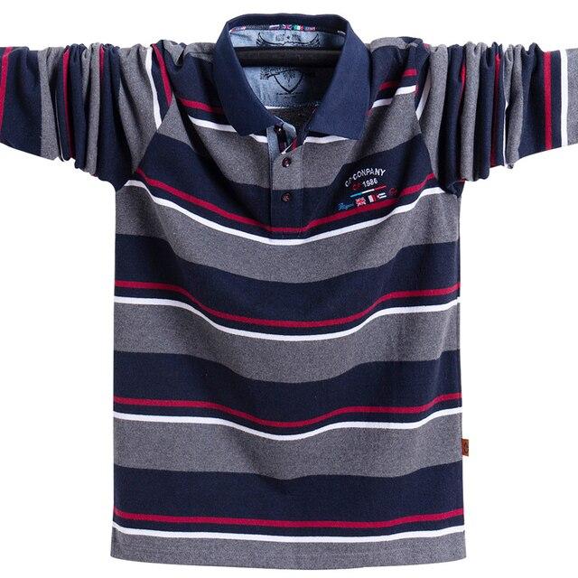 새로운 남성 폴로 셔츠 고품질 스트라이프 폴로 셔츠 패션 캐주얼 긴 소매 폴로 셔츠 브랜드 의류 가을 겨울 5XL 크기