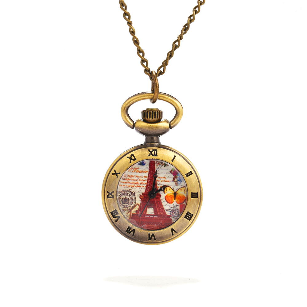 8894   Large Bronze Paris Tower Roman Scale Pocket Watch Personality Creative Retro Gift Quartz Pocket Watch With Necklace