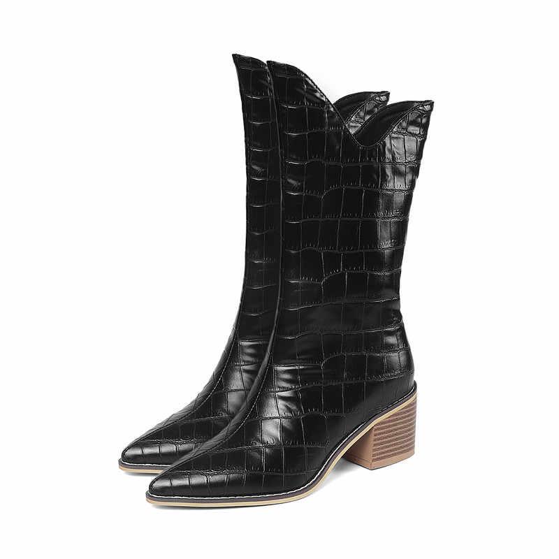 MORAZORA yeni moda Marka Batı botları büyük boy 43 vintage sivri burun sonbahar kış yüksek topuklu ayakkabılar bayanlar orta buzağı çizmeler