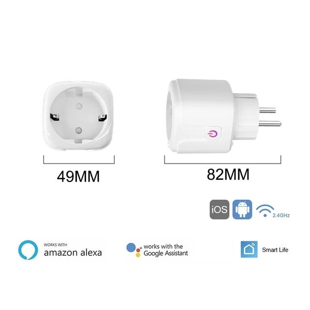 16A Tuya WIFI Plug Smart life Socket Outlet UK EU AU Brazil FR Israel IT Plug APP Remote Control Work For Alexa Google Assistant 2