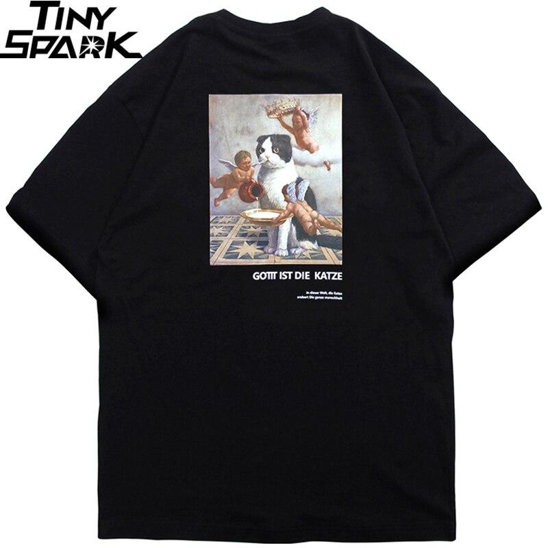 2020 Men Hip Hop T Shirt Angel Cat Funny T-Shirt Streetwear Deutsch Letter Tshirts Summer Short Sleeve Tops Tees Cotton Spring