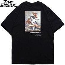Camiseta de Hip Hop para hombre, camiseta divertida de gato Ángel, ropa de calle, camisetas con letras Deutsch, camisetas de manga corta de algodón para primavera 2020