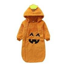 Красивые милые спальные мешки с длинными рукавами и героями мультфильмов для маленьких девочек и мальчиков; детские пижамы с тыквой на Хэллоуин для малышей