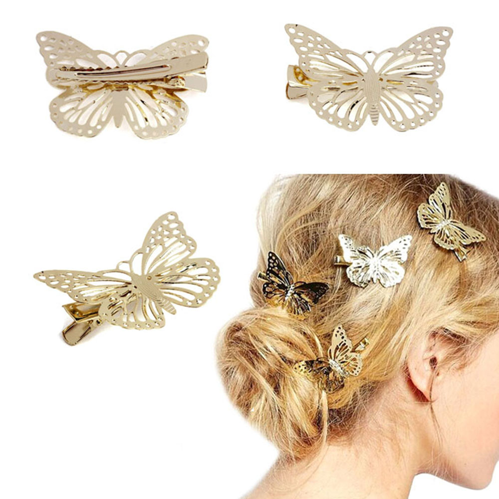 Hollow Golden Butterfly Heart Star Hair Clips For Girls Retro Barrette Hair Pins Vintage Fashion Hair Styling Accessories