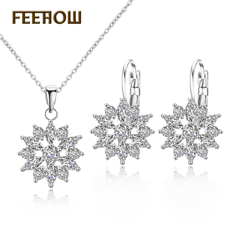 FEEHOW Exquisite Cubic Zirconia Flower Simple Sweet Earrings Necklace Jewelry Set for Women Wedding Dinner Party Gift FWSP3012