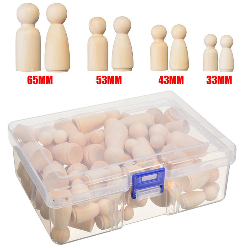 50pcs 35mm/43mm/55mm/65mm Unfinished Wooden DIY Color Painting Peg Dolls Male & Female Doll Bodies Decorations