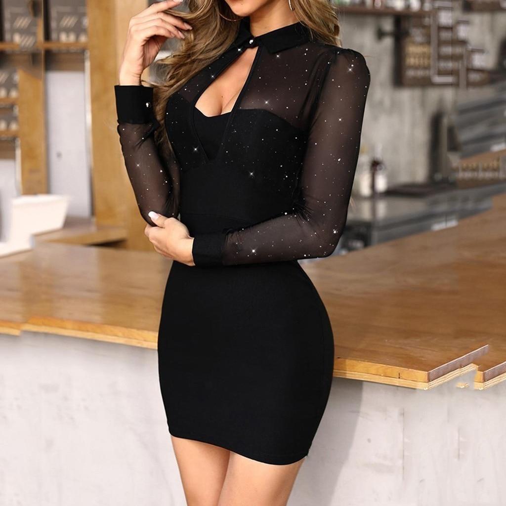 Fashion Women Long Sleeve Glitter Semi Sheer Dress Mesh Slim Work Dress For Ladies Sexy Bodycon