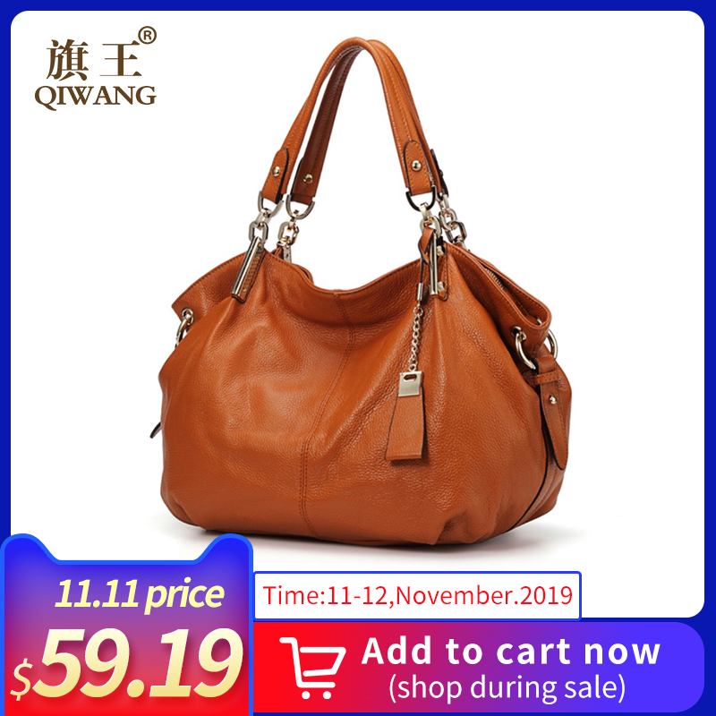 Genuine Leather Hobo Handbags For Women 2019 Qiwang Designer Large Shoulder Tote Bags Brown Leather Top-handle Lady Hand Bags