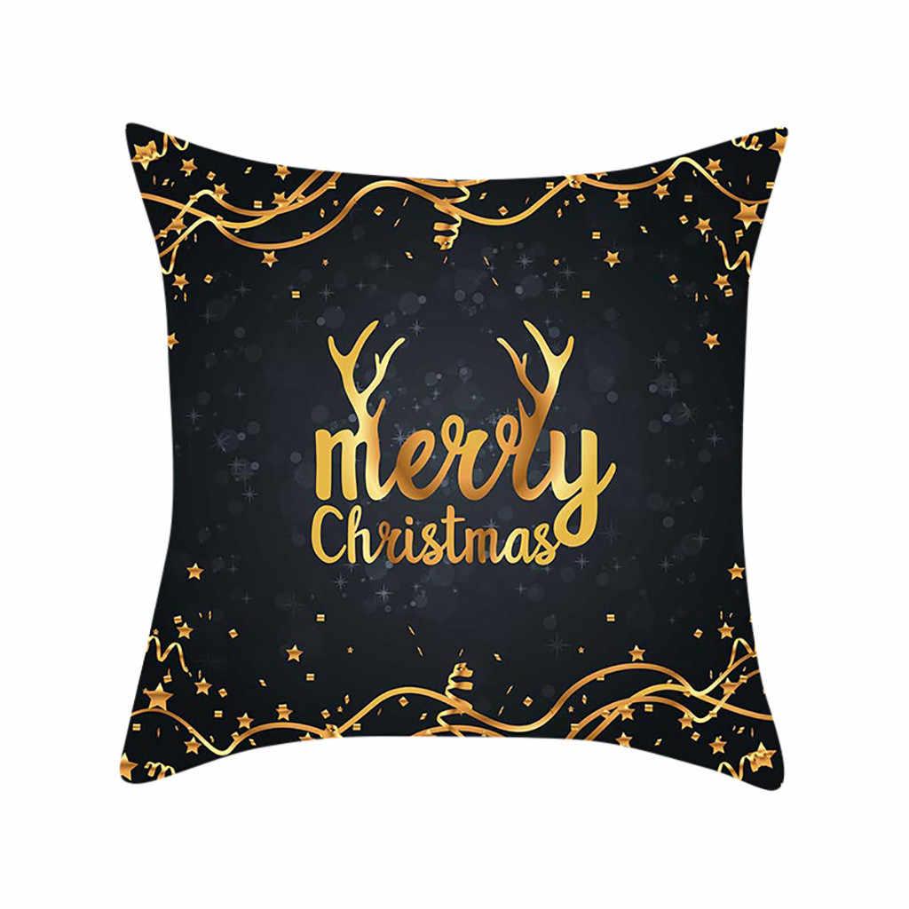 Giáng Sinh Đệm Có Vàng Nai Sừng Tấm Tặng In Đào Da Lộn Giáng Sinh Vỏ Gối Giường Decoratives Ghế Sofa Đệm Eo Vỏ Gối