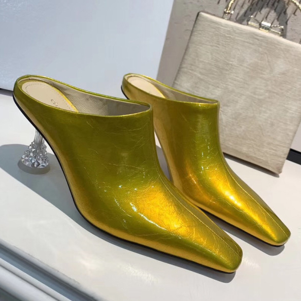 Patent Leather Pumps Crystal Heel Fashion Ladies High Heels Square Toe European Women Wedding Shoes Hollow Out Woman Sandals