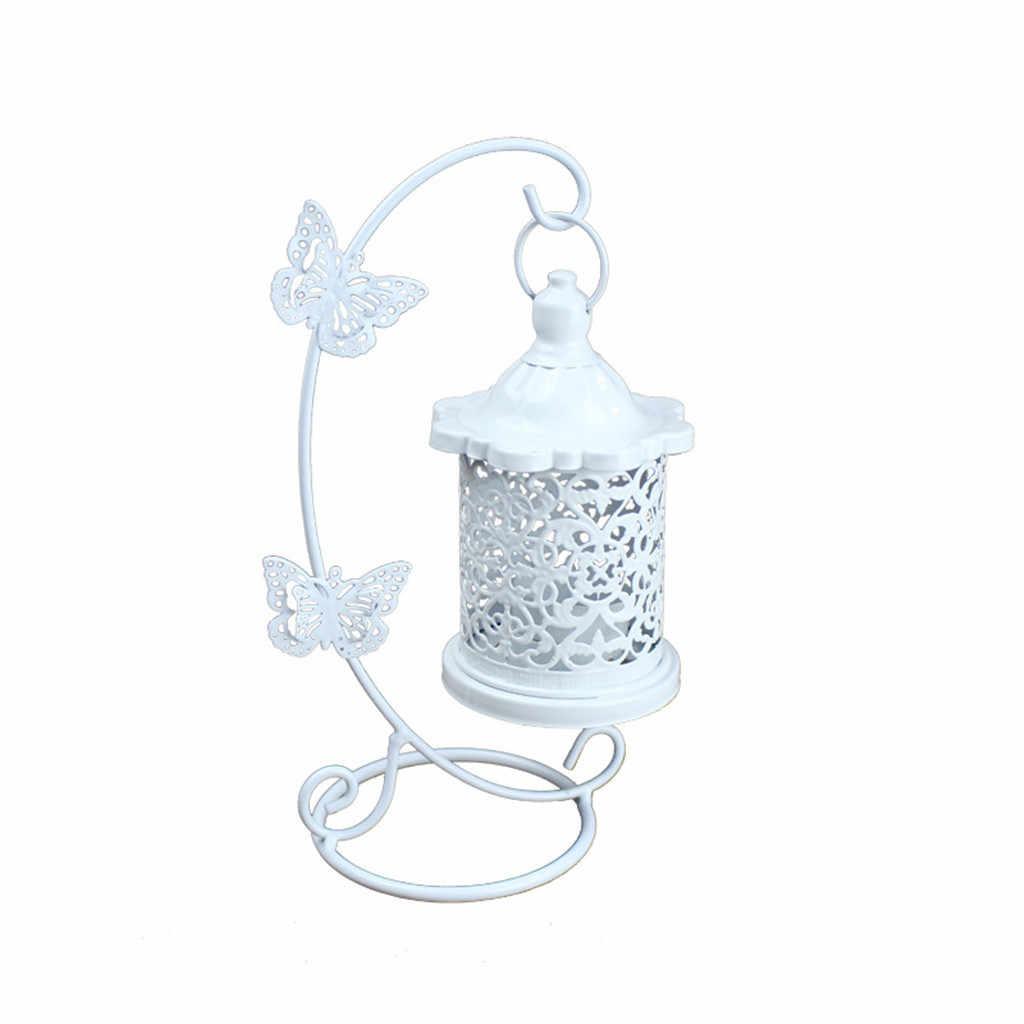 中空ホルダー燭台ティーライトランタン鳥ケージヴィンテージ鍛造フック燭台テーブルランプ結婚式のダイニング装飾 7P