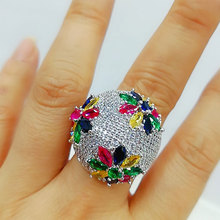 GODKI Luxury Flower Big Bold Rings with Zirconia Stones 2020 Women Engagement Party Jewelry High Quality