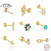 CANNER 1 Piece 925 Sterling Silver Small Stud Earrings for Women Exquisite Piercing Earring Silver 925 Jewelry Gift Pendientes