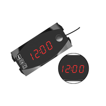 1 pcs 12V Motorcycle Car LED Display Voltmeter Voltage Monitor Detector Clock Temperature Meter Universal Style
