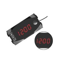 1 pcs 12V Motorcycle Car LED Display Voltmeter Voltage Monitor Detector Clock Temperature Meter Universal Style