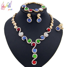 Yulaili Trendy Multicolor African Bridal Nigeria Wedding Jewelry Sets Pendant Necklace Earrings Bracelet Ring for Women Gift
