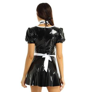 Image 2 - Women Sexy French Maid Servant Role Playing Costume Shiny Babydoll Fancy Dress Lingerie Erotic Cosplay Princess Uniform Aprons