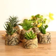 Artificial Potted Succulents Cactus Bonsai Cement Flower Fake Plants for Wedding Home Party Garden Decorative